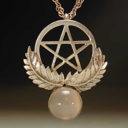 Large sterling silver pentagram flanked by leaves with a half-inch cats-eye moonstone below.