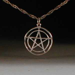 This is a lightweight sterling silver pentagram pendant. It has a very refined look similar to many medieval pentagrams.