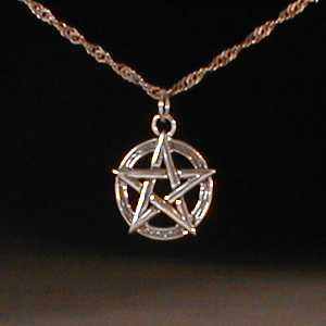 This is a one-inch sterling silver pentagram.