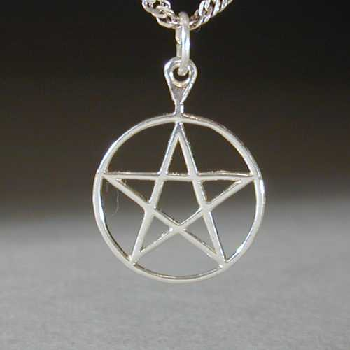 This is a classic style pentagram. It measures three quarters of an inch across and is made from sterling silver.